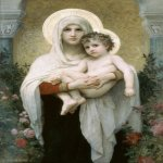William Bouguereau (1825-1905)  La Madone aux Roses [The Madonna of the Roses]  Oil on canvas, 1903  51 1/8 x 35 5/8 inches (130 x 90.5 cm)  The Gould Mansion Tarrytown, New York City